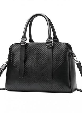 Черная классическая качественная стеганая сумка + длинный ремень