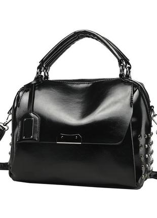Стильная черная женская сумка на короткой ручке + ремень