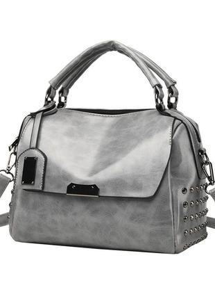 Шикарная серая вместительная сумка на коротких ручках + длинный ремешок