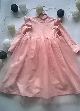Нарядное платье из футера с фатином