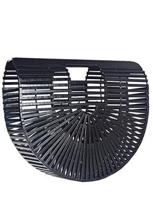 Черная крутая бамбуковая полукруглая сумка