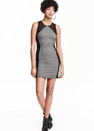 Платье без рукавов с кожаными вставками h&m размер м/l