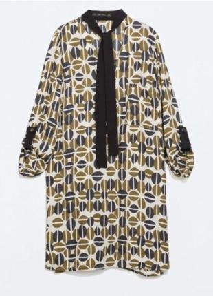 Платье-рубашка в кофейные зерна с бантом-чокером zara