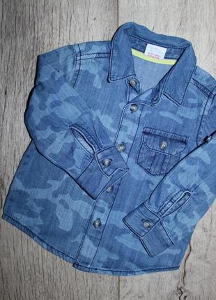 Стильная модная джинсовая рубашка расцветка военная mini club 9-12 месяцев, рост 74-80 см.