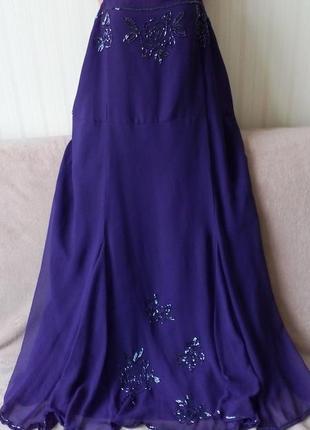 Вечернее нарядное платье вышитое бисером, пог 62 см