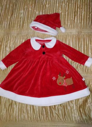"""Новогоднее платье 9-12 мес """"фламинго"""""""