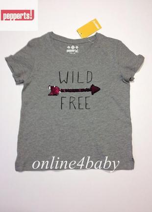 Детская футболка pepperts на девочку 6-8 лет, рост 122/128