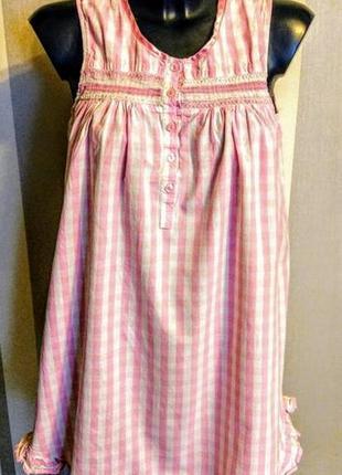 Клевое бело розовое клетчатое платье нночная рубашка  100% коттон pink.