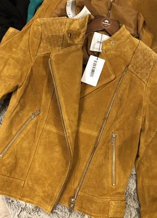 Кожаная куртка косуха mango