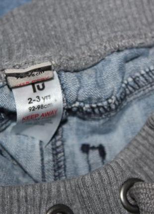 Модные бриджи шорты джинсовые серая резинка tu 2-3 года, рост 92-98 см.3