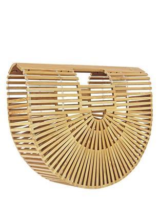 Стильная бамбуковая каркасная сумка на лето