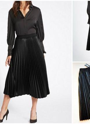 Шикарная черная юбка плиссе миди эко-кожа