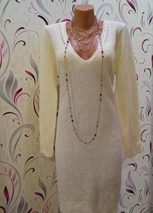 Вязаное беломолочное платье с v-воротником бренд vero moda