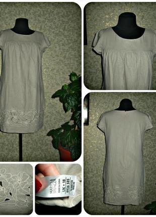 Льняное платье с карманами и вышевкой marks&spencer