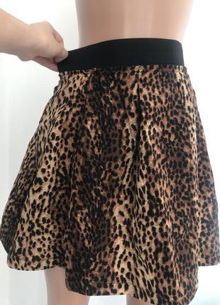 Стильная леопардовая юбка с карманами тренд 2019 года размер с-м