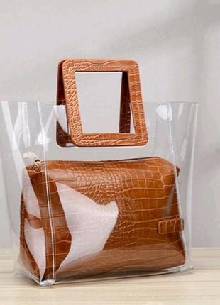 Трендовая силиконовая, прозрачная сумка с ручками под рептилию