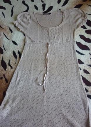 Милое стильное винтажное платье стиль этно натуральный цвет atm