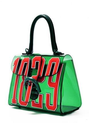 Полупрозрачная, силиконовая зеленая необычная сумка на лето