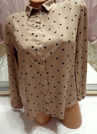 Кофейного цвета рубашка-блуза в горошек, 100% вискоза, распродажа