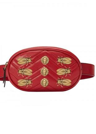 Классная красная сумка на пояс, бананка
