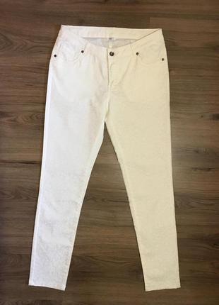 Роскошные брюки цвета айвори с рисунком,стрейч !!