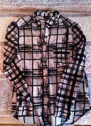 Черно-белая актуальная блуза topshop,размер 38(10)-м