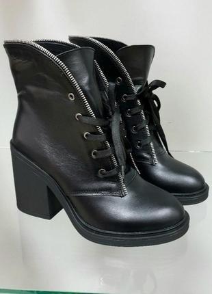 🔥ботинки из натуральной кожи черного цвета на каблуке и шнуровке