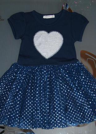 Летнее платье 1- 1,5 года  турция сердце фатиновая юбка breeze