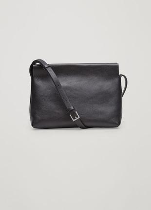 Cos сумка черная кожаная