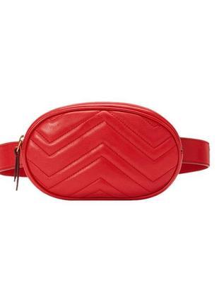 Красная маленькая стильная поясная сумка, сумка на пояс, бананка