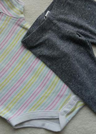 Комплект 2в1 набор бодик футболка и лосины легенсы на 3-6 мес