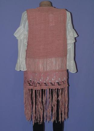 Удлиненная жилетка с вышивкой и висюльками. george2 фото
