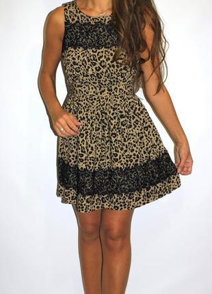 Леопардовое платье с кружевом ( срочная уценка платьев 300ед )