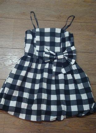 Красивое клетчатое платье young dimension 9-10 лет с бантом