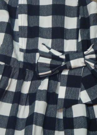Красивое клетчатое платье young dimension 9-10 лет с бантом4 фото