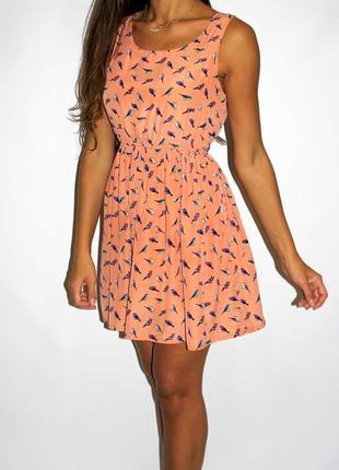 Красивое платье в птичках -- срочная уценка платьев --