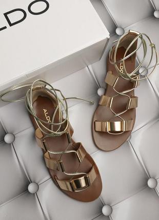 Aldo оригинал золотые кожаные сандалии гладиаторы на завязках бренд из сша