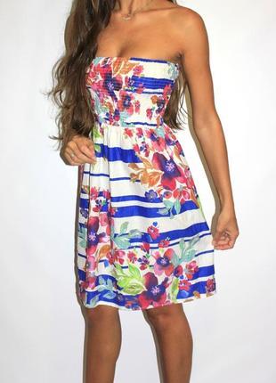 Красивое платье в полосочку и цветах ( срочная уценка )