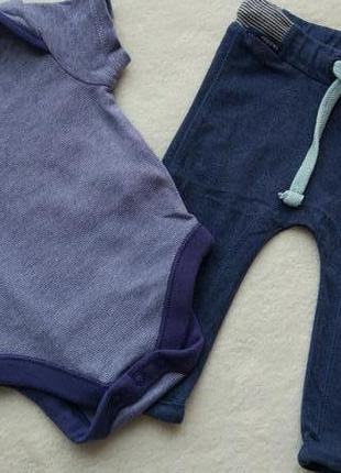 Комплект 2в1 набор бодик и штаны джоггеры на 0-3 мес