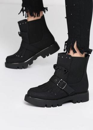 Новые черные замшевые демисизонные ботинки