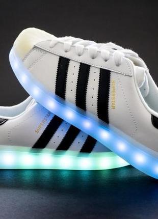 Белые кроссовки кеды ботинки светящиеся led! лучший подарок для мальчика и девочки!
