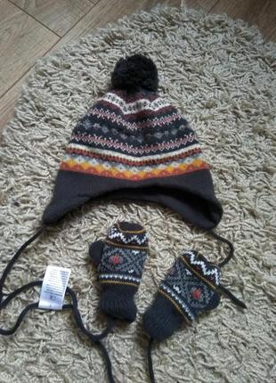 Фирменный комплект (шапка + варежки)