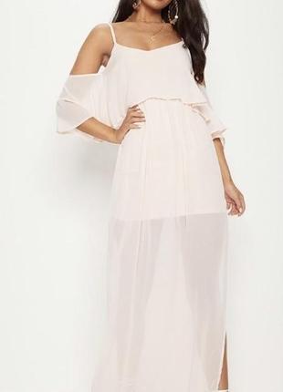 Нежное пудровое макси платье prettylittlething, новое!