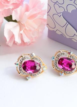 Клипсы с розовыми камнями