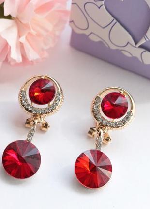 Серьги с красными камнями