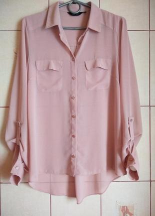 Базовая нюдовая блуза-рубашка 8-10р