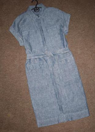 Платье -рубашка с поясом м-л