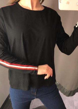 Чёрный реглан с лампасами кофточка лонгслив amisu есть размеры