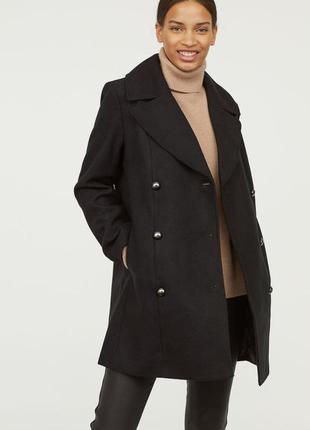 Двубортное пальто из смесовой шерсти, размер 40.