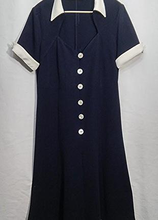 Valentino, платье миди синее вискоза винтаж, made in italy